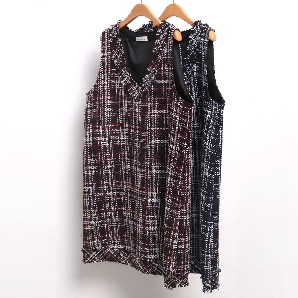 미시옷 7631L912 트위드 체크 원피스 YP 빅사이즈 여성의류 빅사이즈 여성의류 미시옷 임부복 트위드조끼원피스