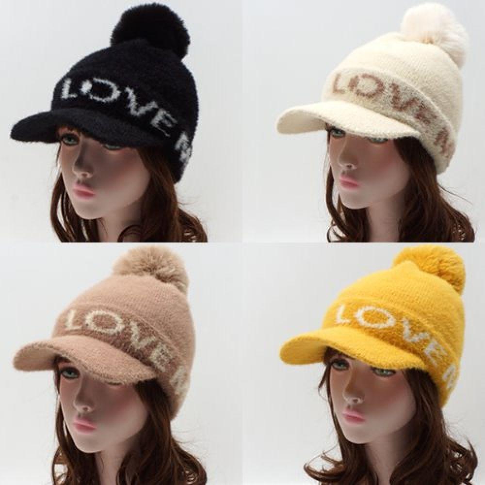 D1380-러브미 니트 방울 챙 모자 비니모자 야구모자 챙모자 여성모자 면모자