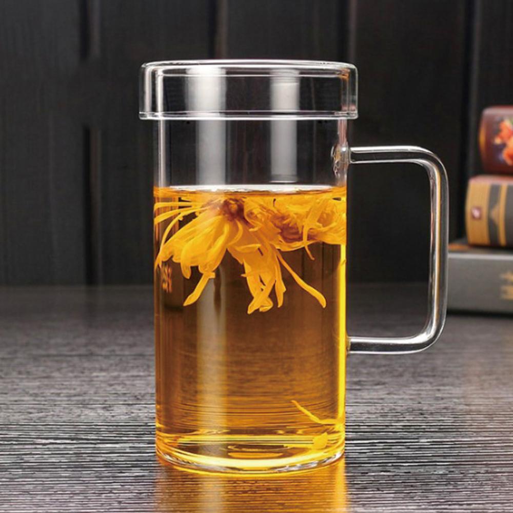 대용량 650ml 모던아이스 강화유리 머그컵 (뚜껑포함) 잘안깨지는 컵