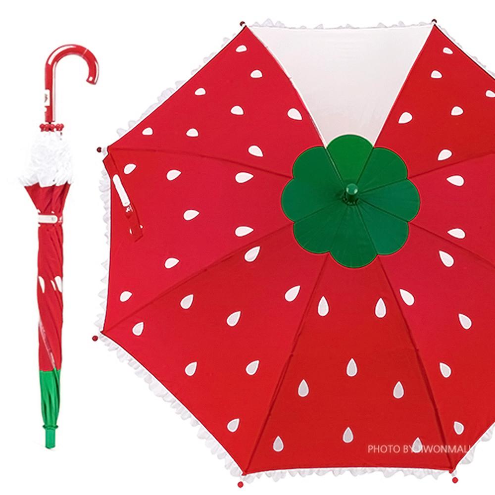 라프롬나드 53 딸기 한폭 우산 우산 유아우산 아기우산 아동우산 어린이우산 초등학생우산 캐릭터우산 캐릭터장우산 자동우산 3단자동우산
