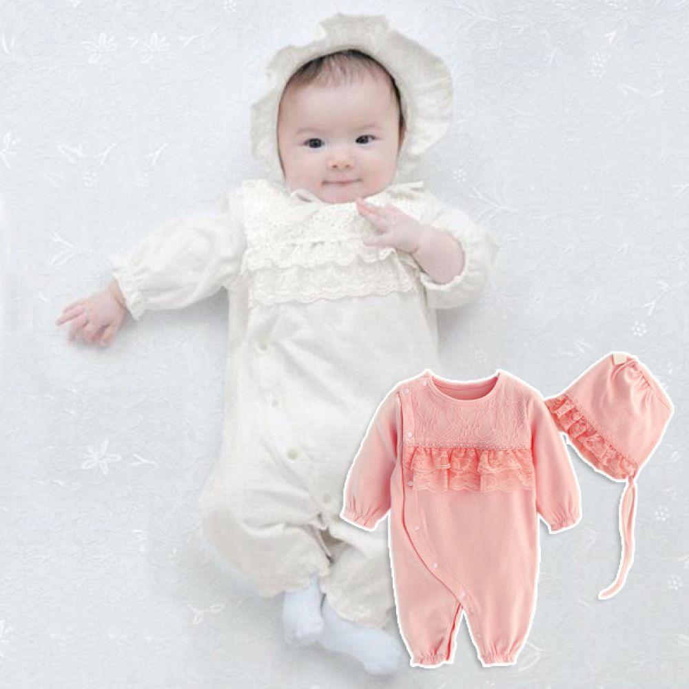 레이스 셔링 우주복과 모자세트(0-12개월) 300192 우주복 롬퍼 백일옷 바디수트 아기옷 유아옷 신생아옷 돌복 유아실내복 아기실내복