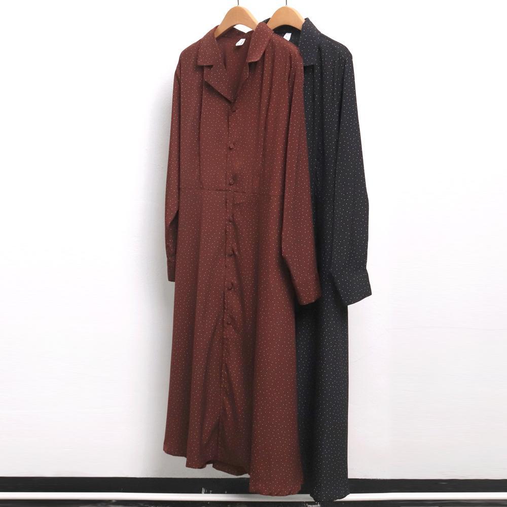 미시옷 6955L910 쁘띠 도트 롱 원피스 PE 빅사이즈 여성의류 빅사이즈 여성의류 미시옷 임부복 오픈카라도트원피스