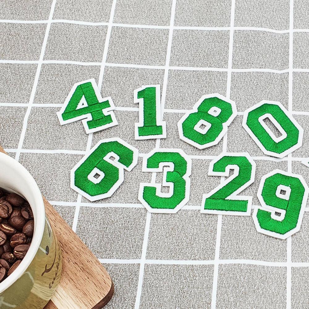 의류 패치 숫자 초록