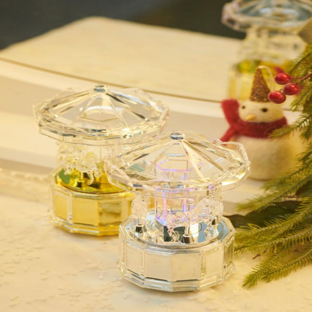 LED 투명 회전목마 오르골 2color 멜로디소품 투명오르골 LED소품 회전목마장식품 태엽오르골 장식소품