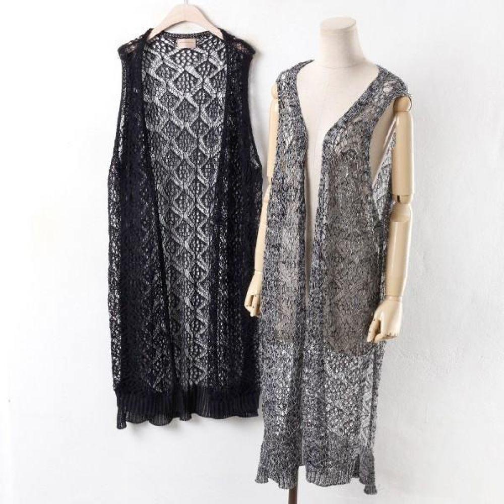 빅사이즈 005 네트 롱 오픈 조끼 DRM2601 빅사이즈 여성의류 미시옷 임부복 005네트롱오픈조끼DRM2601