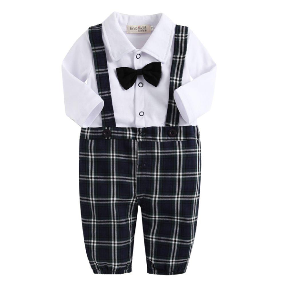 타탄 체크 턱시도 우주복(0-24개월) 300203 아기우주복 롬퍼 룸퍼 바디슈트 아기턱시도 백일복 아기옷 유아옷 신생아옷 유아복