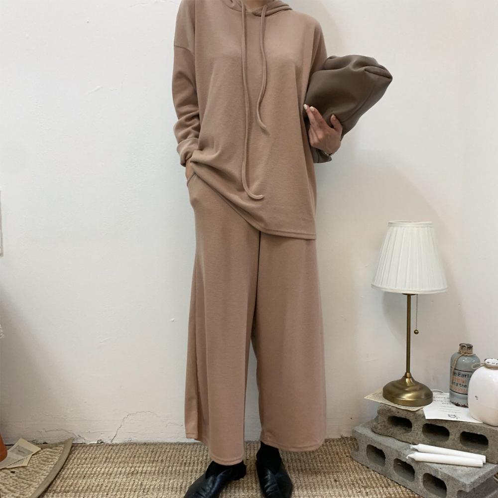 미시옷 7251L911 와이드 후드 티 세트 BE 빅사이즈 여성의류 빅사이즈 여성의류 미시옷 임부복 무지루즈핏후드세트