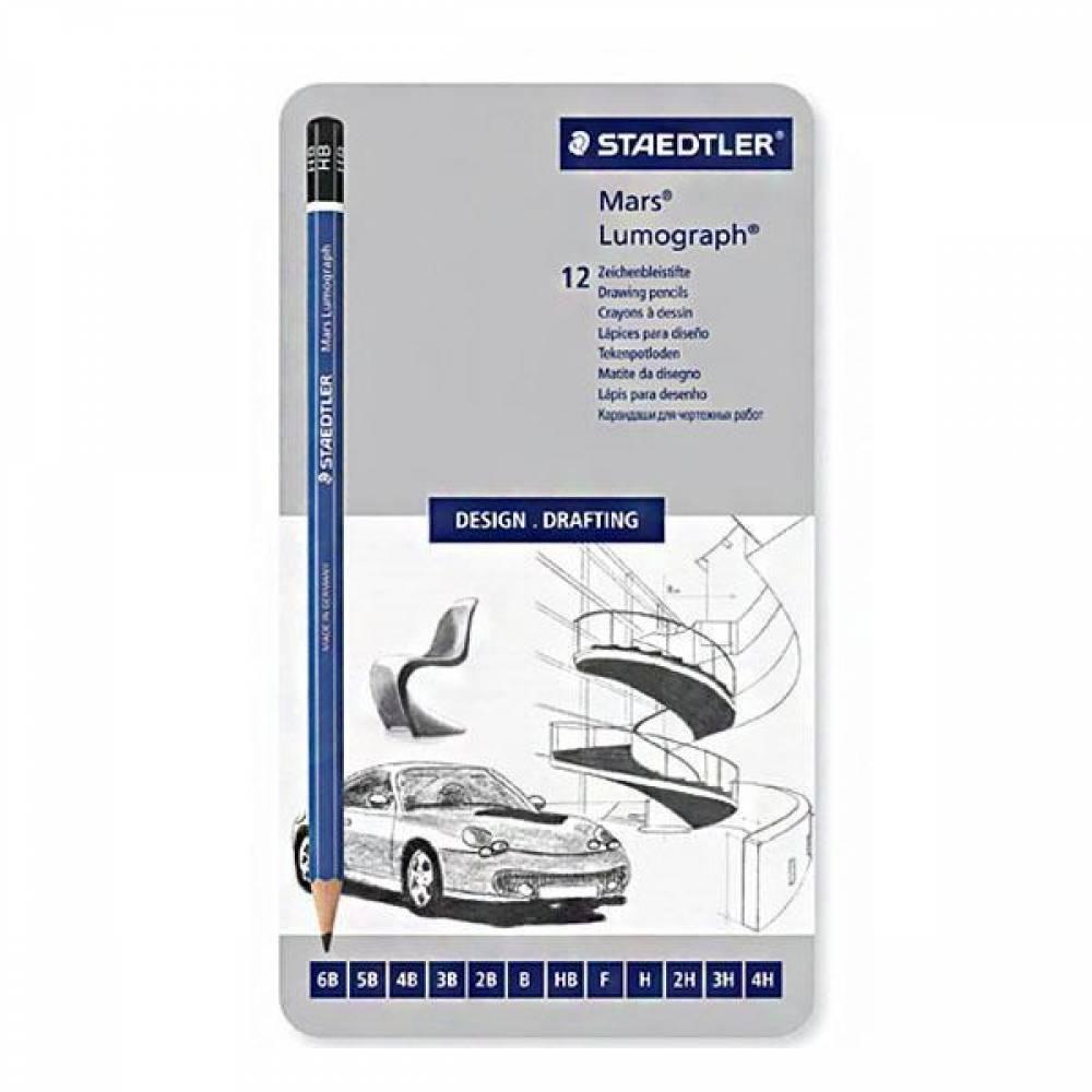 스테들러 마스 루모그라프 100G 12본 연필세트 파란연필